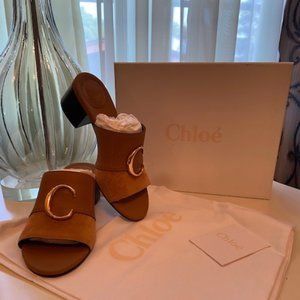Chloe C suede & leather mules - 38 EUR FIT